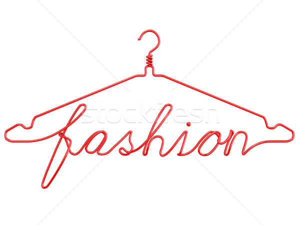 Red wire clothes hangers with message - FASHION. 3D Stock photo © djmilic