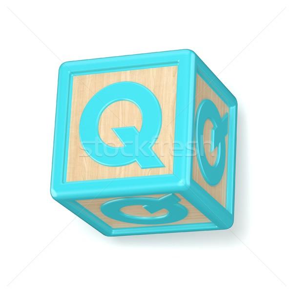 Stock photo: Letter Q wooden alphabet blocks font rotated. 3D