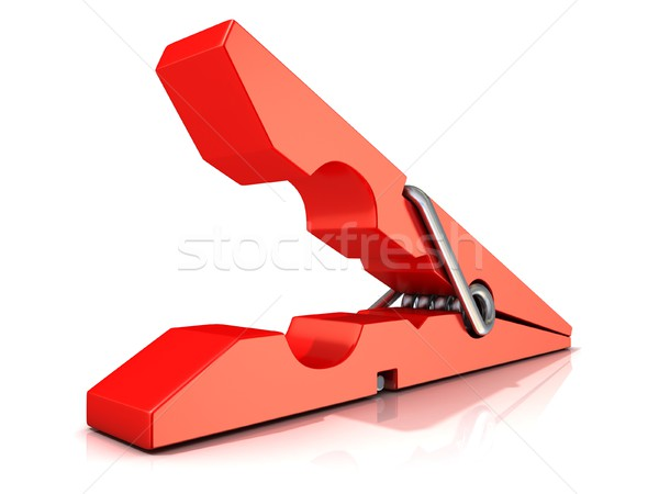 Red plastic clothes pin. Opened Stock photo © djmilic