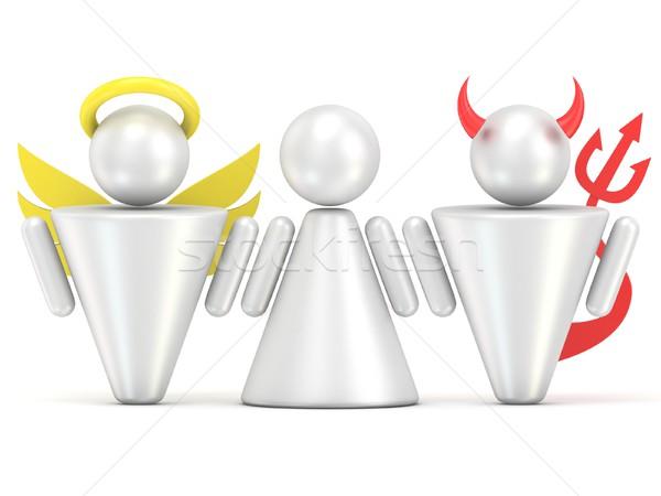 Stock fotó: Kísértés · nő · angyal · ördög · 3D · 3d · render