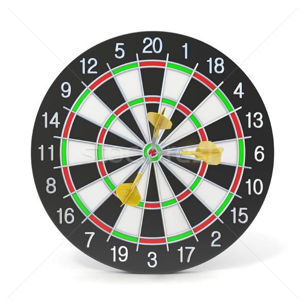 Dartboard with three orange darts on bullseye. Front view. 3D Stock photo © djmilic