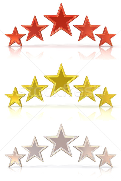 Collection of 3D rendering of five red, gold and white stars Stock photo © djmilic