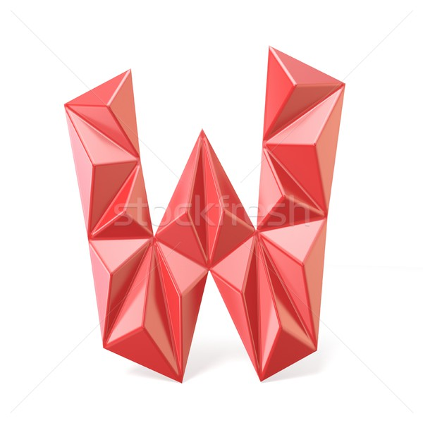Red modern triangular font letter W. 3D Stock photo © djmilic