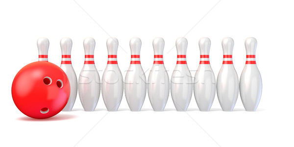 Bowling pins lined and bowling ball. 3D Stock photo © djmilic