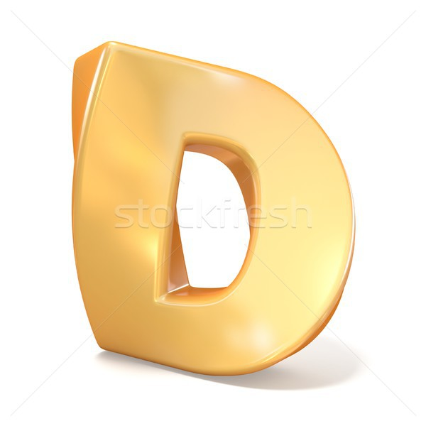 Stock photo: Orange twisted font uppercase letter D 3D