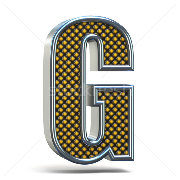 Chrome metal orange dotted font Letter G 3D stock photo
