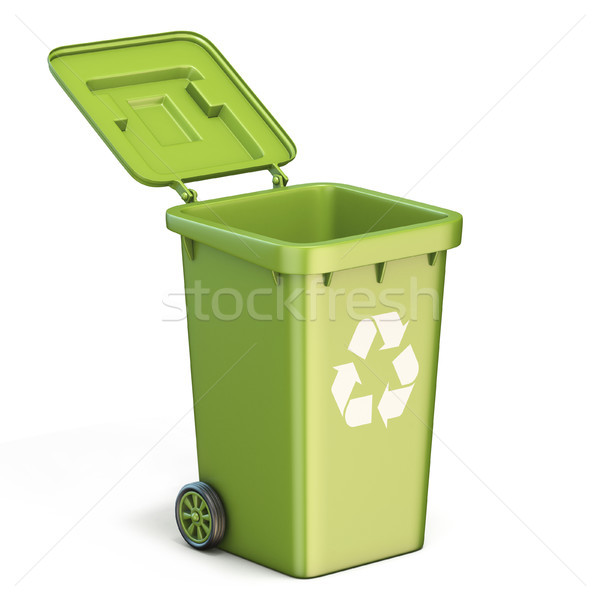 Green plastic recycle bin opened 3D Stock photo © djmilic