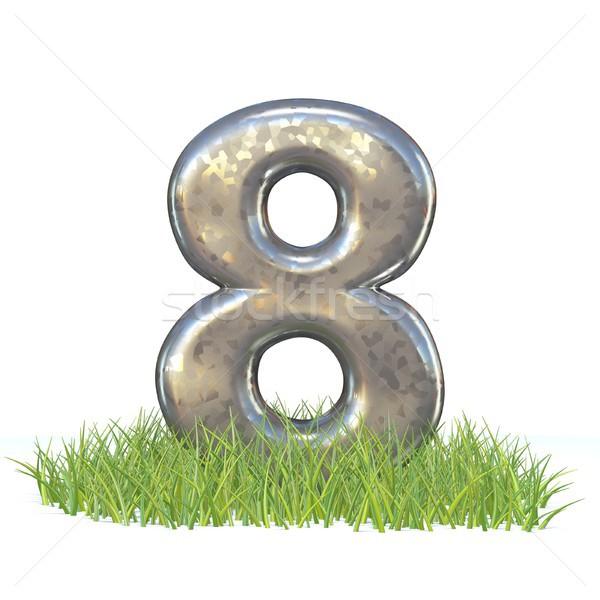 гальванизированный металл шрифт числа восемь трава Сток-фото © djmilic