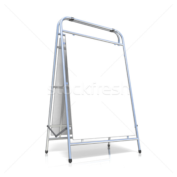 Metal advertising stand, with copy space board. Side view. 3D Stock photo © djmilic