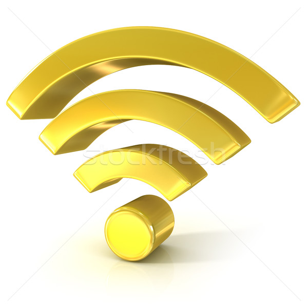 Stock photo: Wireless network 3D golden sign