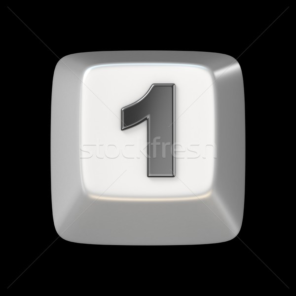 Computer keyboard key number ONE 1 3D Stock photo © djmilic