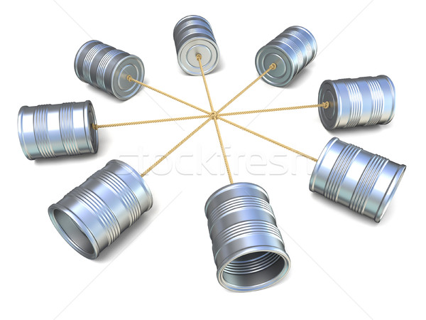 Tin can phones connected to each other. 3D Stock photo © djmilic