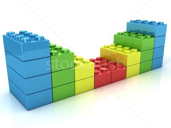 Műanyag tömbházak fal gyerekek játék izolált Stock fotó © djmilic