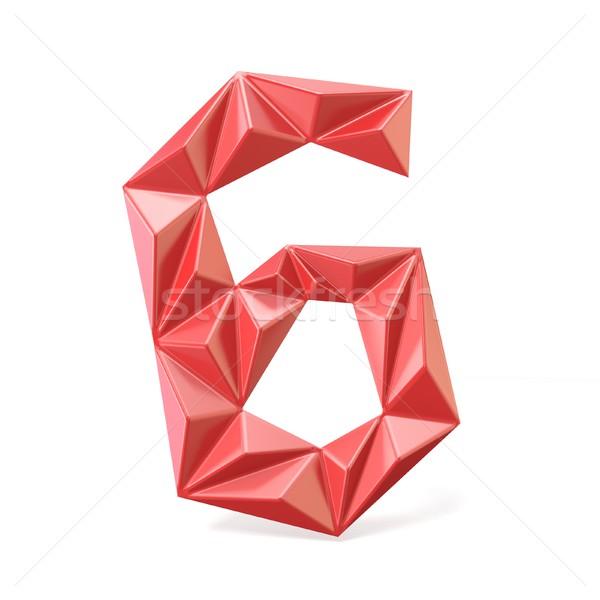 Red modern triangular font digit SIX 6 3D Stock photo © djmilic