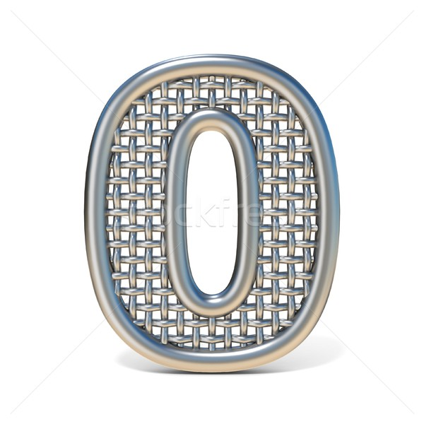 Outlined metal wire mesh font Number 0 ZERO 3D Stock photo © djmilic