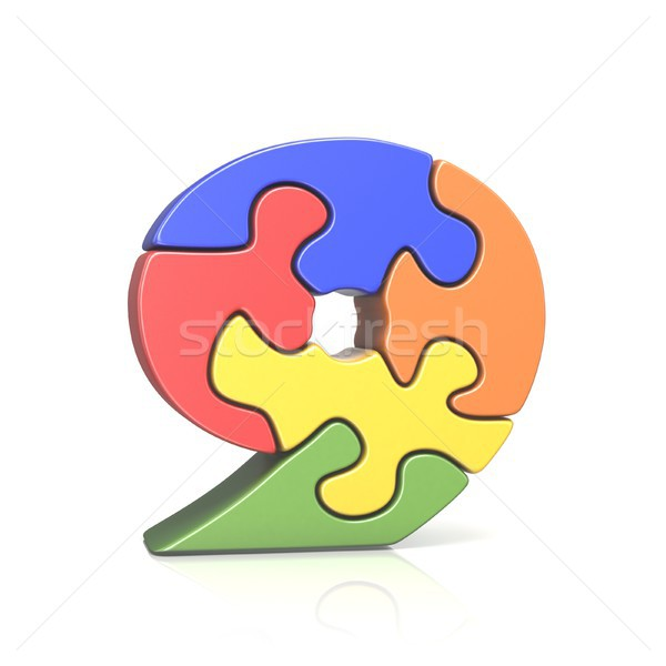 Puzzle jigsaw number NINE 9 3D Stock photo © djmilic