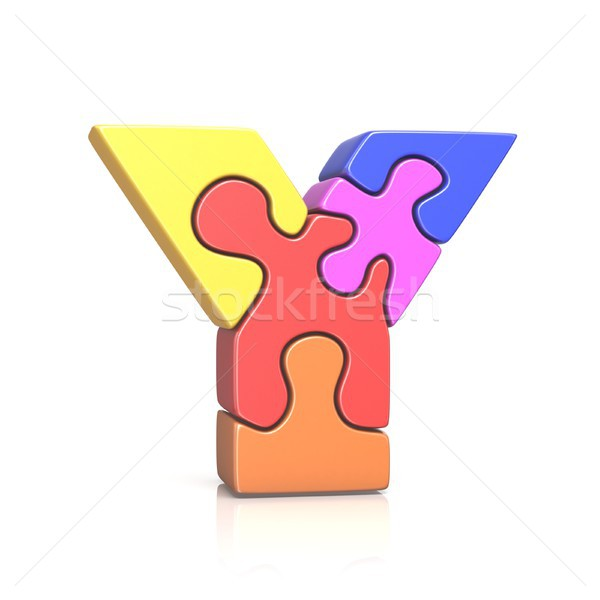 Puzzle jigsaw letter Y 3D Stock photo © djmilic