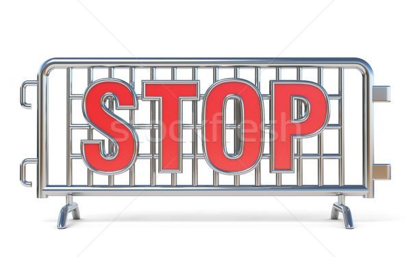 Staal stopteken 3D 3d render illustratie geïsoleerd Stockfoto © djmilic