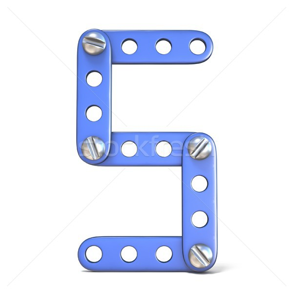 Stock photo: Blue metal constructor toy Number 5 FIVE 3D