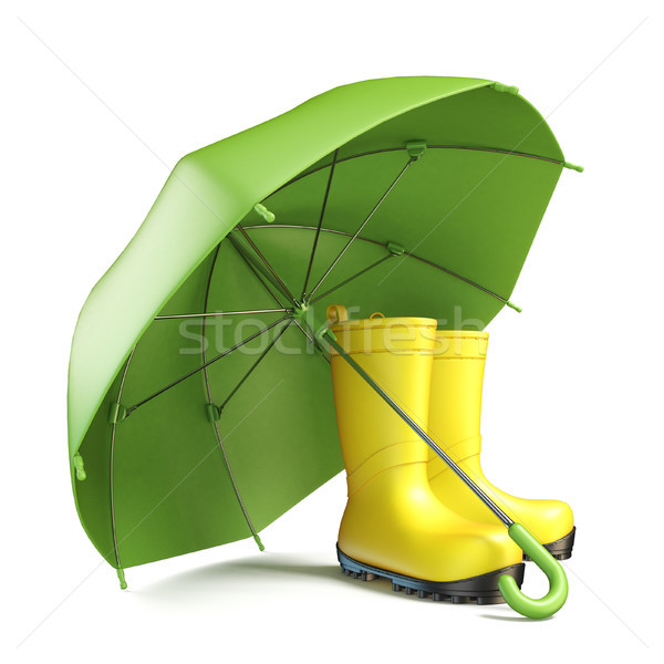 Pair of yellow rain boots and a green umbrella 3D Stock photo © djmilic