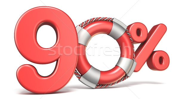 Life buoy 90 percent sign 3D Stock photo © djmilic