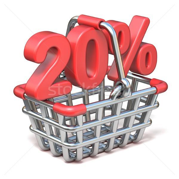 Metal alışveriş sepeti 20 yüzde imzalamak 3D Stok fotoğraf © djmilic