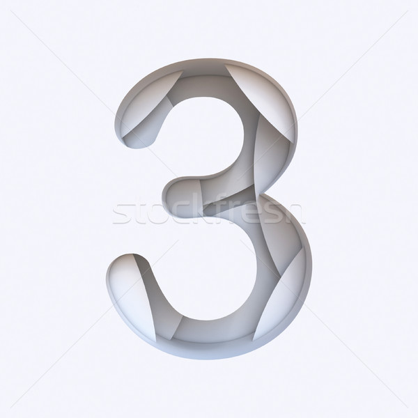 White abstract layers font Number 3 THREE 3D Stock photo © djmilic