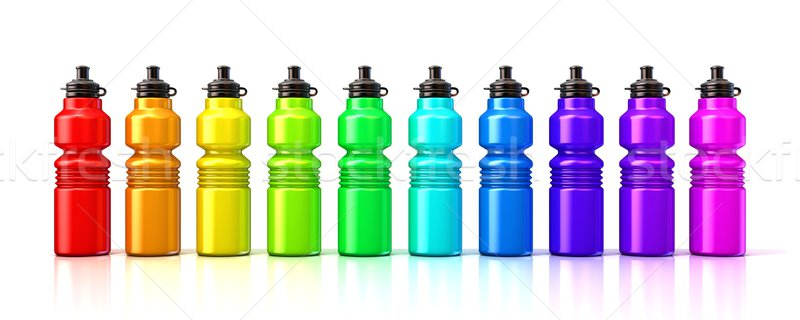 Colorful sport plastic water bottles. 3D Stock photo © djmilic