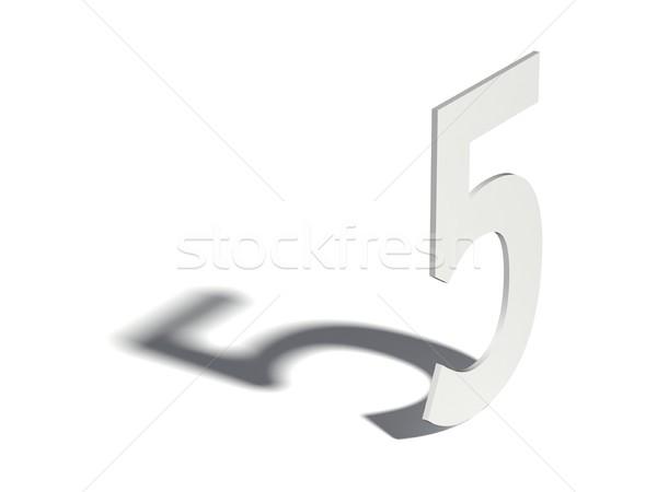 Drop Schatten digit Zahl fünf 3D Stock foto © djmilic