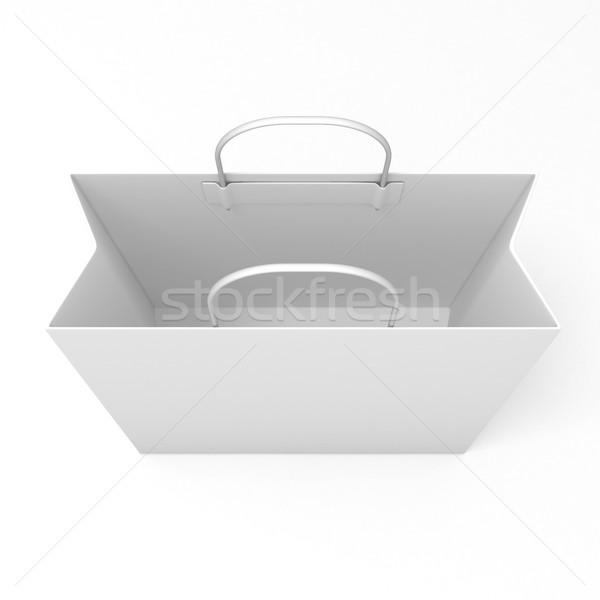Pusty torby papierowe odizolowany biały górę widoku Zdjęcia stock © djmilic