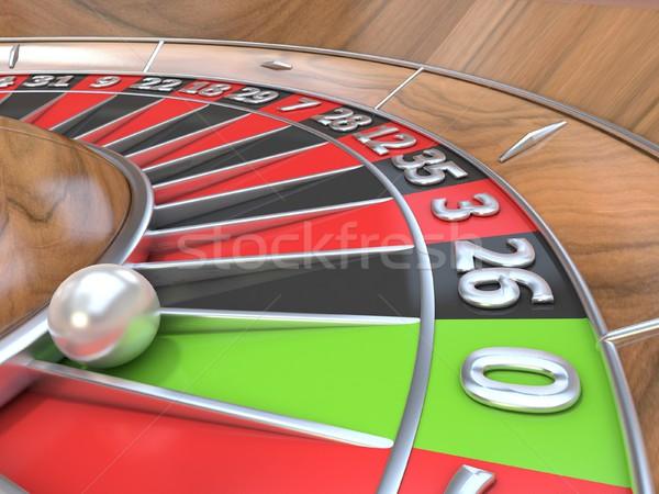 Macro view roulette tavola verde pari a zero Foto d'archivio © djmilic