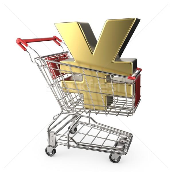Rojo cesta de la compra dorado japonés yen moneda Foto stock © djmilic