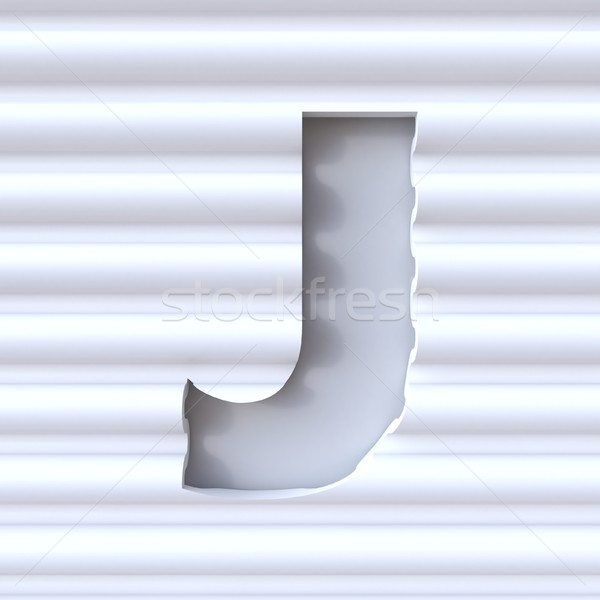 Cut out font in wave surface LETTER J 3D Stock photo © djmilic