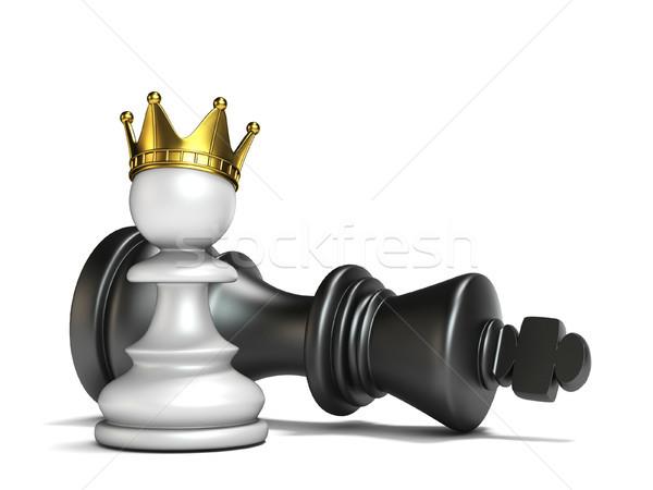 White pawn has won black king 3D Stock photo © djmilic