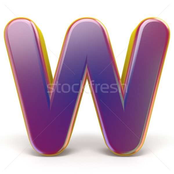 Letter W purple font yellow outlined 3D Stock photo © djmilic