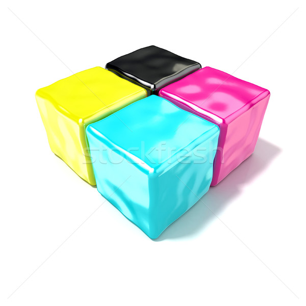CMYK cubes sign, like symbol of printing. 3D Stock photo © djmilic