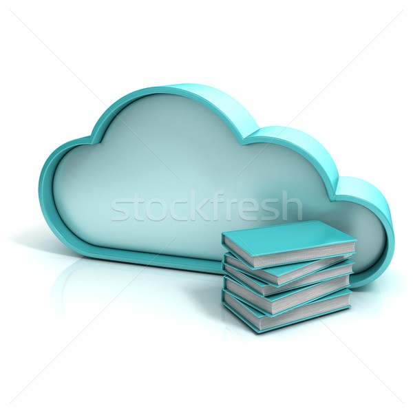 Cloud book 3D computer icon Stock photo © djmilic