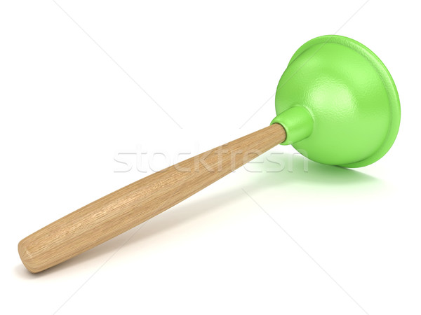 Green rubber toilet plunger. 3D Stock photo © djmilic