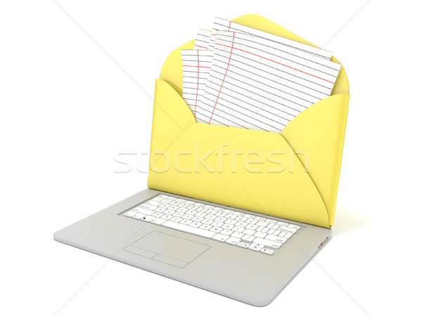 Open envelope and blank lined paper on laptop. Side view. 3D Stock photo © djmilic