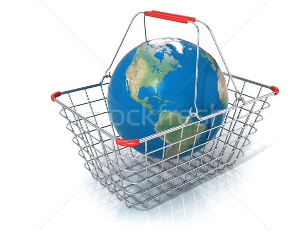 Globe in steel wire shopping basket Stock photo © djmilic