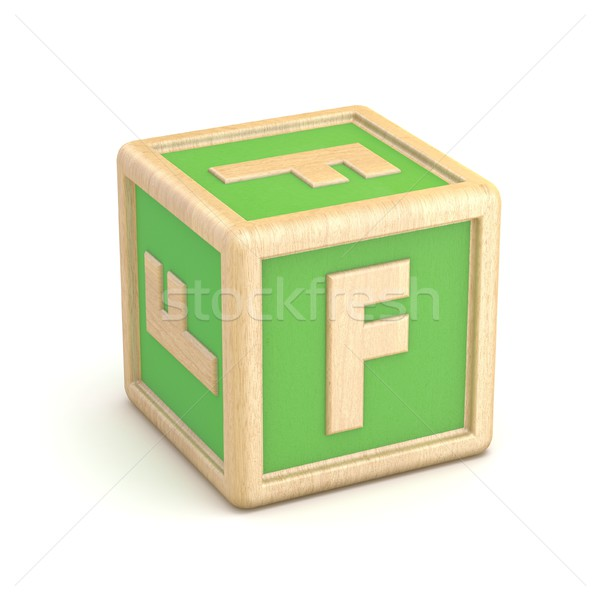 Stock photo: Letter F wooden alphabet blocks font rotated. 3D