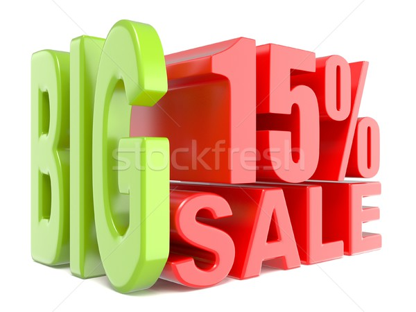 Big sale and percent 15% 3D words sign Stock photo © djmilic