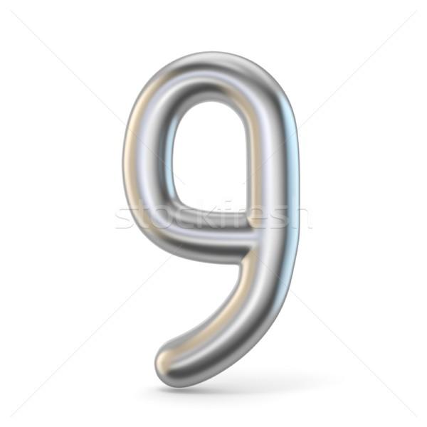 Metal silver font. Number NINE 9 3D Stock photo © djmilic