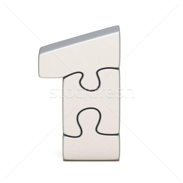 Fehér puzzle fűrész legelső 3D 3d render Stock fotó © djmilic
