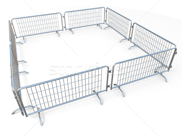 Barricaded square made of mobile steel fences 3D Stock photo © djmilic