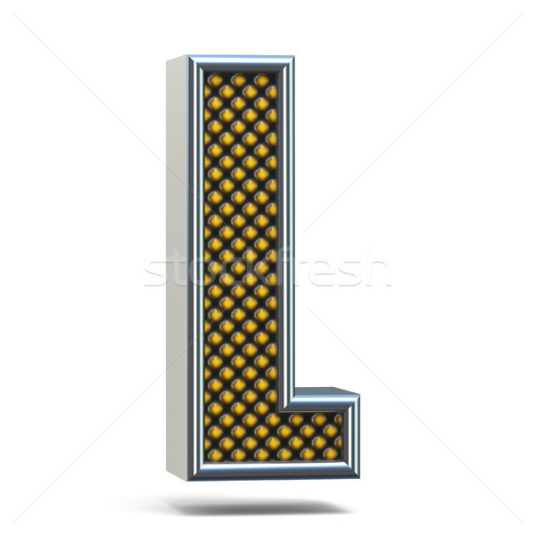 Chrome metal orange dotted font Letter L 3D Stock photo © djmilic