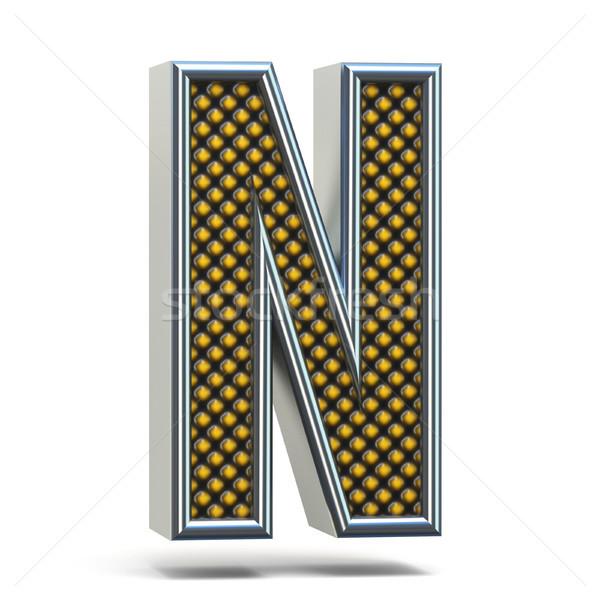 Chrome metal orange dotted font Letter N 3D Stock photo © djmilic