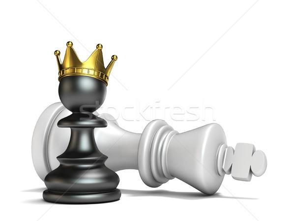 Black pawn has won white king 3D Stock photo © djmilic