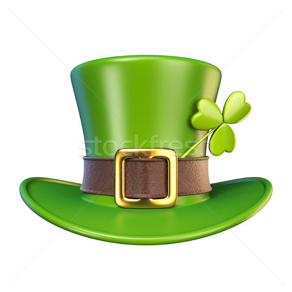 緑 聖パトリックの日 帽子 クローバー フロント 表示 ストックフォト © djmilic
