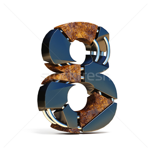 Black brown fracture font number 8 EIGHT 3D Stock photo © djmilic